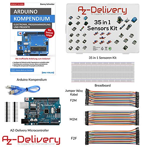 AZDelivery Starter Kit mit 35 in 1 Sensoren Kit, Arduino Kompendium Buch, Mikrocontroller, Breadboard und Jumper Wire Kabel Set!