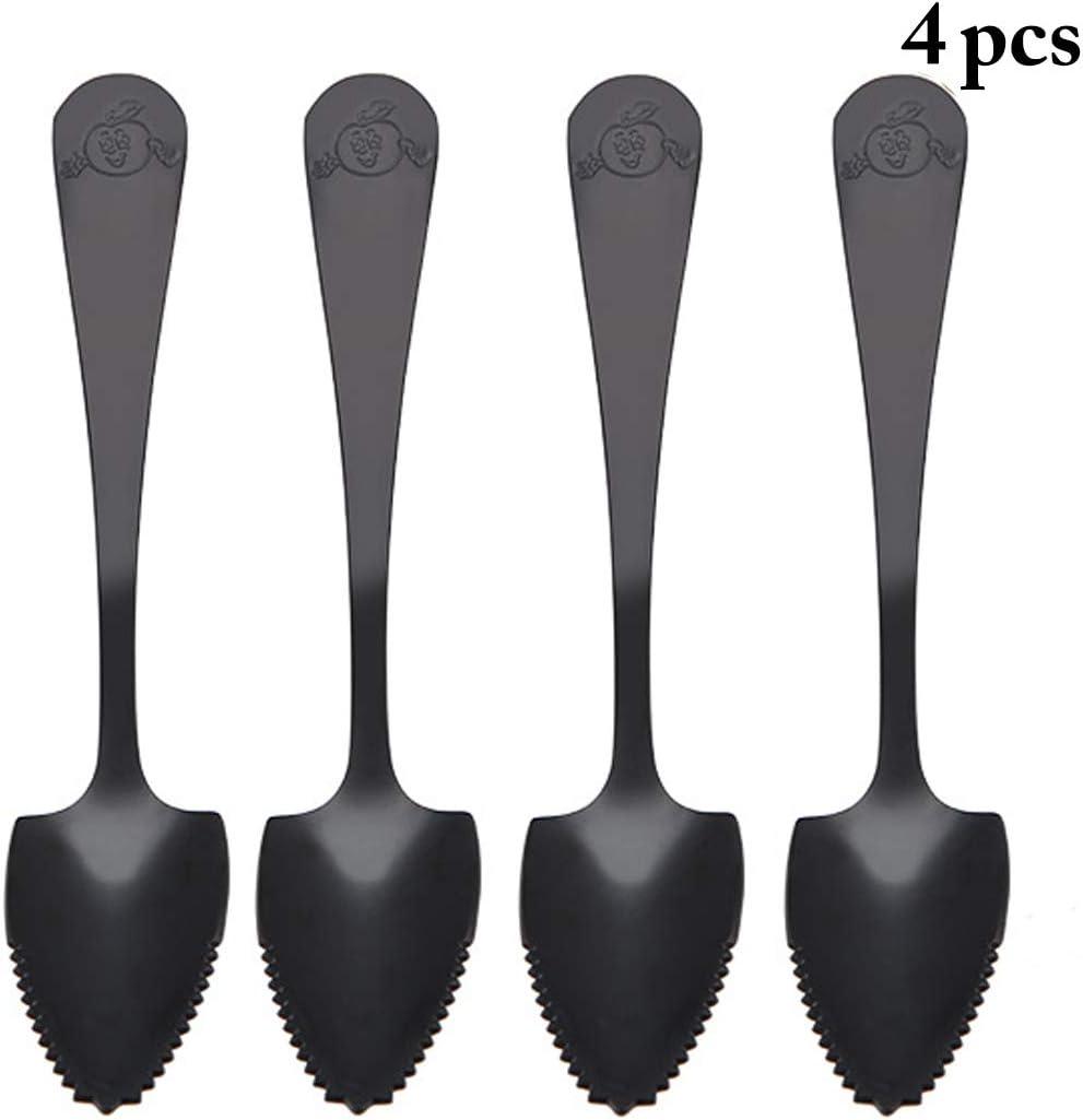 Grapefruit Spoons,JUSTDOLIFE 4PCS Fruit Spoon Sawteeth Stainless Steel Spoon Flatware Spoon for Grapefruit