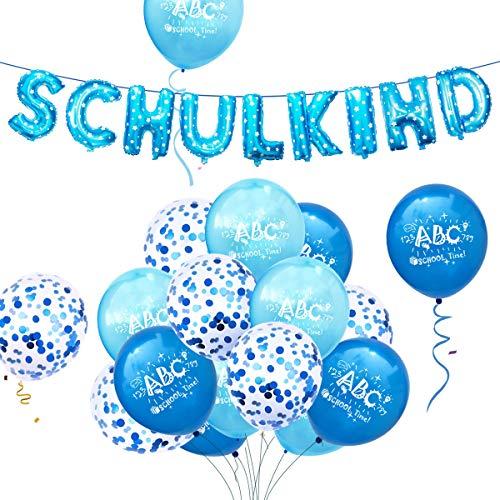 iZoeL Deko Einschulung Schulanfang Junge Blau Folienballon Girlande Schulkind + 15 Luftballon Party Dekoration Schuleinführung