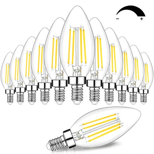 12-Pack Dimmable E12 LED Candelabra Bulbs 60W Equivalent, 5000K Daylight White, 600 Lumens B11 Candle Base 6W C35 LED Filament Vintage Light Bulbs, Clear Glass for Chandelier Ceiling Fan High CRI 90+
