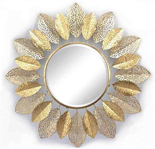 Espejo Simple nórdico Hierro Forjado Retro Industrial Colgante de Pared Redondo Maquillaje Espejo Decorativo, Espejo HD