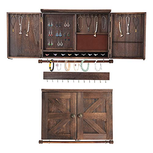 ARTISHION Wall Hanging Rustic Jewelry Organizer Wall Mounted, Jewelry Holder for Necklaces, Earings, Bracelets, Ring Holder, Wall Jewelry Cabinet with Removable Wooden Rod