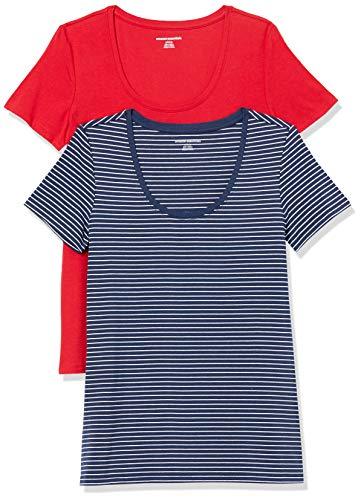 Amazon Essentials Paquete de 2 Camisetas de Manga Corta con Cuello Redondo. Fashion-t-Shirts, Raya roja/Azul Marino, S, Pack de 2