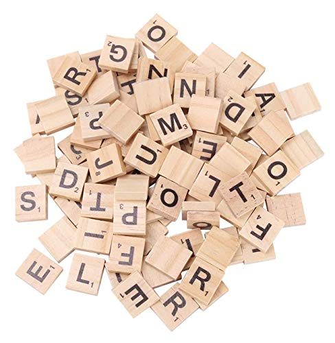 200PCS Scrabble Tiles for Crafts Wooden Letters Scrabble Letters Education Games and DIY Wood Tile Game Wall Decor All Ages