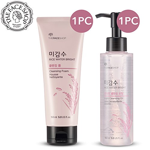 [Total 2Pcs] The Face Shop Rice Water Bright Cleansing Oil + Foam SET by Thinkpichaidai