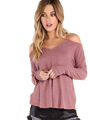 ROMWE Camiseta para Mujer De Punto con Hombros Al Aire -Rosa XS