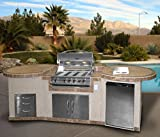 Cal Flame e3022 3 Piece Outdoor Kitchen Island with 4-Burner Built in
