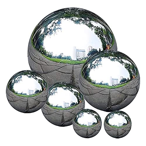 6 Piezas Bolas de Acero Inoxidable, 50 mm-150 mm Bolas de Jardín, Bolas de Espejo Plateadas de acero Inoxidable para Decoración de Jardín, Bolas de Metal