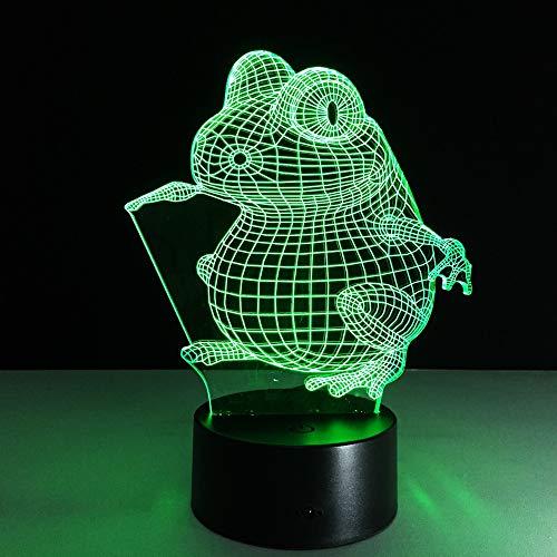 Colorido tridimensional luz inteligente forma de rana lámpara de mesa 3D luz nocturna visual LED decoración del dormitorio del bebé luz nocturna cumpleaños conmemorativo regalo hecho a mano