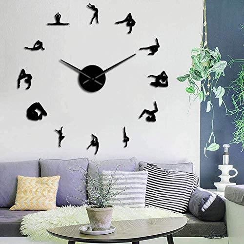 3D DIY wandklok gymnastiek meisjes silhouet spiegel sticker DIY stijlvolle wandklok sport gymnastiek meisjes geschenk hoofddecoratie grote klok woonkamer slaapkamer decoratie