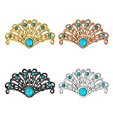 U7 Brooches Set 4 Pcs Women Men Accessories Turquoise Crystal Antique Inspired Peacock Bird Tail Custom Pin Brooches(1 Gold, 1 Rose Gold,1 Platinum,1 Black)