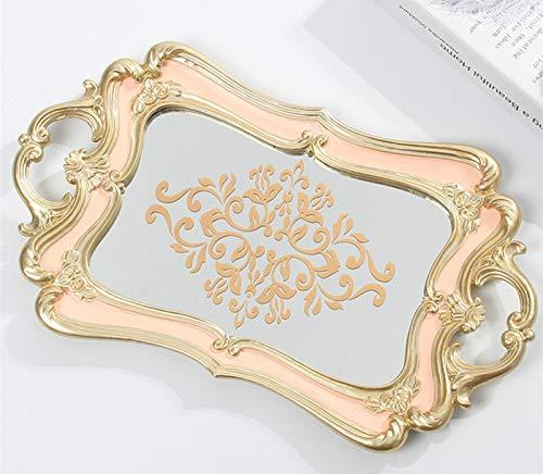 Schonee Bandeja rectangular de espejo decorativo, organizador de aparador tallado vintage para joyería de perfume y maquillaje, bandeja de servir con estampado floral (estampado floral - rosa)