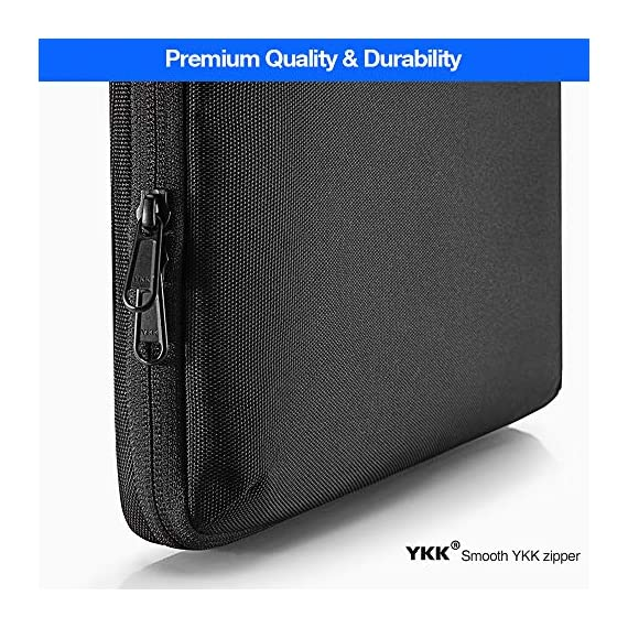 tomtoc Recycled Laptop Sleeve for 13-inch MacBook Air M1/A2337 2018-2021, MacBook Pro with USB-C M1/A2338 2016-2021, 12… 6 CornerArmor Patent Design - Protective CornerArmor patent design at the bottom of the case and 360° protective soft padding around inside protect your laptop from bumps in accident, just like the Car Airbag Stay Organized – Except the main compartment for your laptop, this case also features a second large zipper compartment for additional storage such as iPad mini, charger, power adaptors, cables, mouse and other accessories Ultra-Secure – Specially designed secure belt with Velcro inside the 180° opening main compartment protect your laptop from sudden drop. Ultra-thick protective cushioning interior ensures your laptop from bumps, dents, scratches and spills at all times