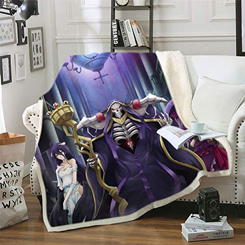 dgdgd Overlord Anime Blanket Quilt Ainz Ooal Gown Albedo Palace Background 3D Printed Soft Flannel Cashmere Plush Fleece Sherpa Throw Blanket Gift for Anime Fans Kids and Adults
