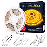 LED Strip Lights 16.4ft Yellow 2200K Dimmable LED Tape Light Flexible Under Counter Lighting Kits with 12V UL Power Supply, Adhesive Clips, Dimmer Switch and Connectors for Under Cabinet Stair Bedroom