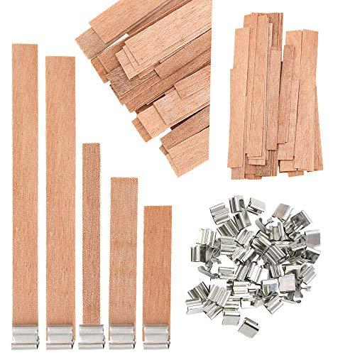 Homo Trends - Mechas de madera con soporte de hierro para velas, 50 unidades, 5 tamaños
