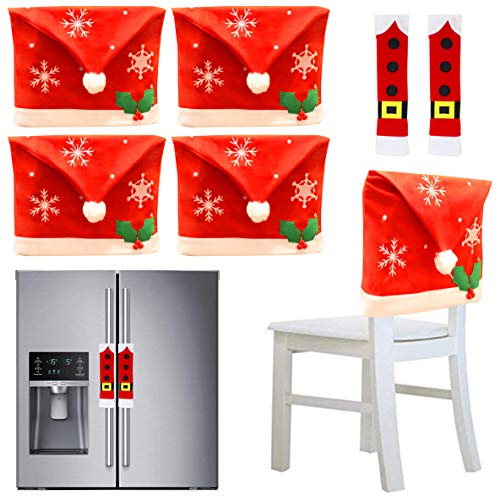 JOYIN 4 Stück Weihnachten Stuhlhusse mit 2 Stück Griff Türabdeckungen Verzierungen Set für Weihnachten Kühlschrank Dekoration, Weihnachtsdeko, Party Favor Supplies