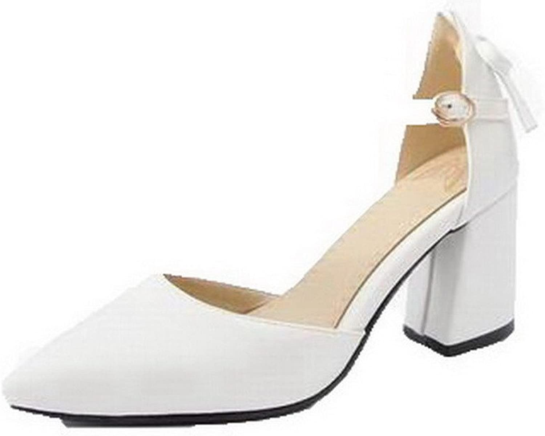 AllhqFashion Women's Buckle Closed-Toe High-Heels Pu Solid Sandals, FBULD014188