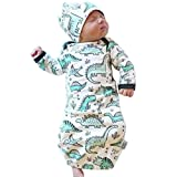 COLOOM Infant Baby Cartoon Dinosaur Pajamas Newborn Sleeper Gown Swaddle Hats 2Pcs Outfits, Green, one size (0-3M)