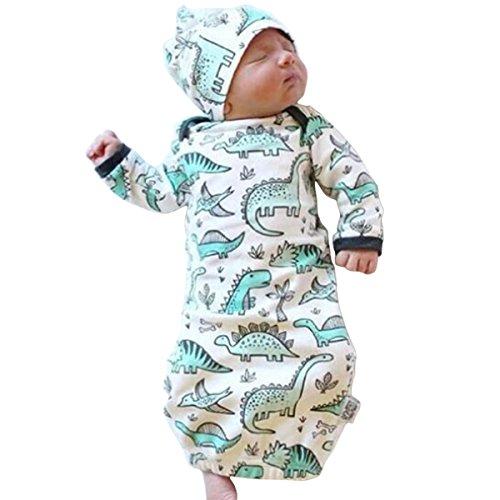 COLOOM - Pijamas de dinosaurio para recién nacido, diseño de dinosaurio, 2 piezas, color verde, talla única (0-3M)