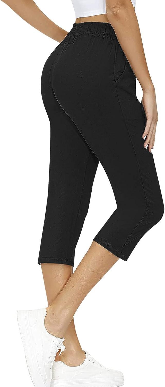 Zxvrara Women's Leisure Cropped Trousers Yoga Pants Plus Size Drawstring Stretch Slim Sports High Waist Pencil Pants