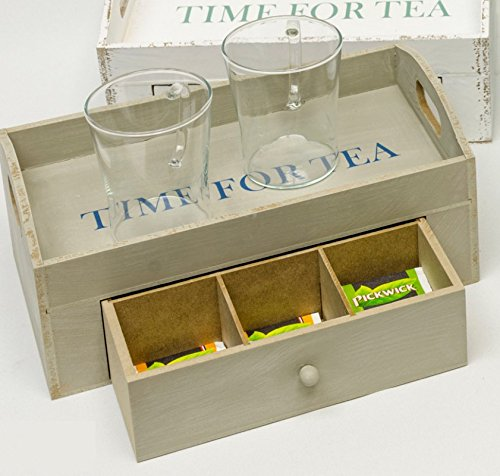 Unbekannt Tablett Holztablett 'Time for Tea' mit Teebeutel- Box 3 Fächer Holz Shabby- Chic