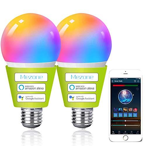 Mezone 2 bombillas inteligentes E27, bombilla Alexa con Amazon Alexa Echo, Echo Dot Google Home, no requiere hub, bombilla de colores inteligente