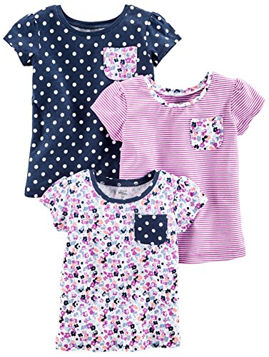 Simple Joys by Carter's Baby Girls' Toddler 3-Pack Short Sleeve Tops, Purple Stripe, Floral, Navy Dot, 4T