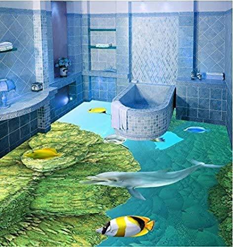 Vlies Tapete Wandbilder Unterwasseraquarium 3D-Bodenfliesen Keramikfliesen 3D-Schlafzimmer Badezimmerboden Membran Wandtattoo Aufkleber auf der Oberseite von 300 cm x 210 cm (118,1 x 82,7 Zoll)