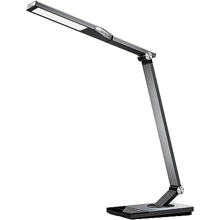 デスクライト TaoTronics LED 目に優しい 電気スタンド 1200lux 広い照射面 USB充電ポート付 フルメタルデザイン 5種類の色温度 6段階の明るさ タイマー 夜間ライト 省エネ 学習机 テーブルスタンドTT-DL16 (スペースグレイ) TT-DL16