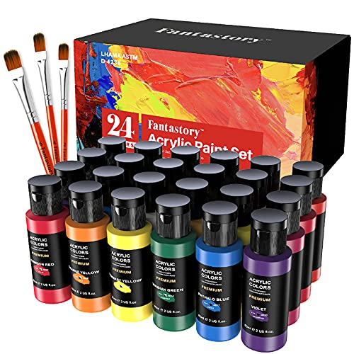 Acrylic Paint Set 24 Colors(2oz/60ml), Fantastory Craft Paint Kit with 3 Brushes, Paint Supplies for Adults & Kids, Non-Toxic Paints Sets for Canvas/Fabric/Rock/Glass/Stone/Ceramic/Model/Wood Painting