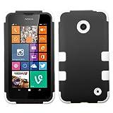 Mystcase (TM) for Nokia Lumia 635 Impact TUFF Hybrid Case Skin Phone Covers + Screen Protector (Black White)