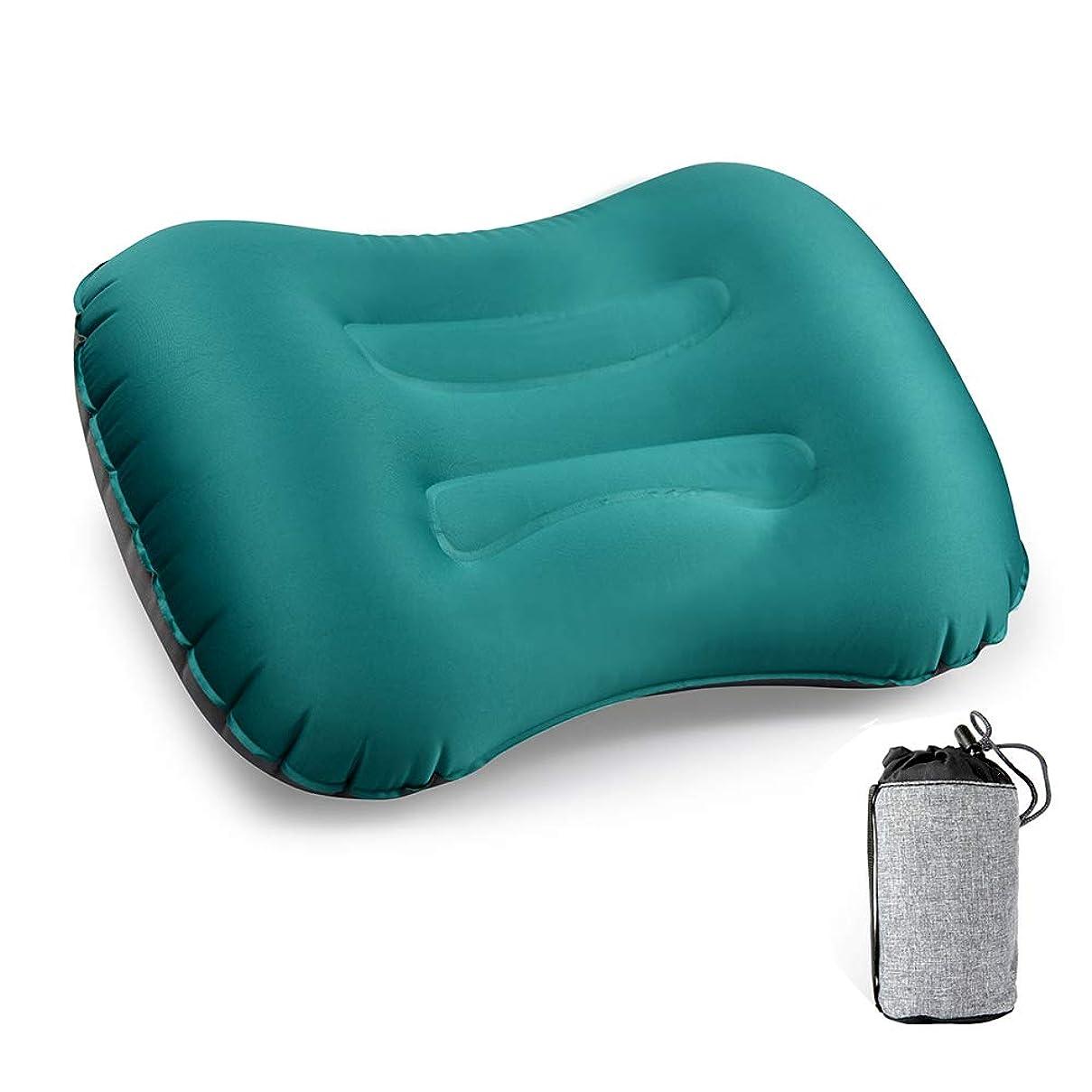 お茶良いそうエアーピロー,CCYCCL 超軽量 コンパクト 柔らかい キャンプ枕 空気枕 携帯クッション 旅行?キャンプ?車中泊?アウトドア 収納ポーチ付き