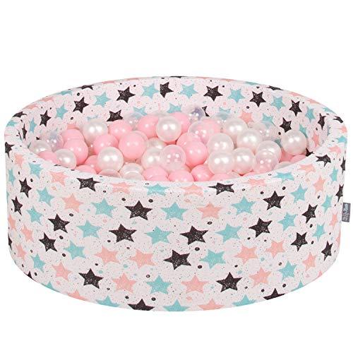 KiddyMoon 90X30cm/200 Balles ∅ 7Cm Piscine À Balles pour Bébé Rond Fabriqué en UE, Ecru:Rose Poudré-Perle-Transparent