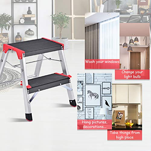 Giantex Aluminum Step Ladder, Lightweight Folding Non-Slip 2 Foot Aluminum Ladder, 330lbs Capacity Wide Pedal Heavy Duty Step Stool Folding for Household Work Use