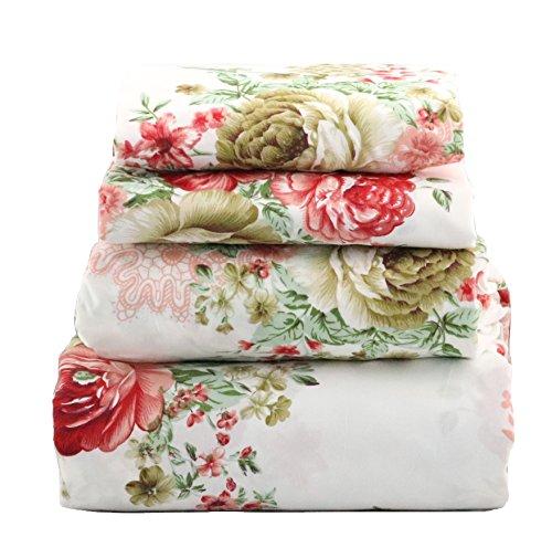 jaycorner 1800 Series Beautiful Bedding Super Soft Egyptian Comfort Sheet Set Cottage Floral Red & Olive (Queen)