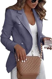 Shallood Donna Manica Lunga Colletto Cappotto Elegante Ufficio Business Blazer Top Tinta Unita Slim Fit Giacca con Pulsant...