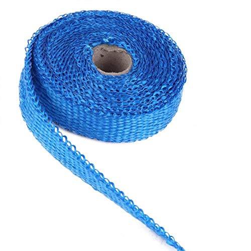 Duokon 5m Abrigo térmico de escape de automóvil, Aislamiento Aislamiento térmico de escape de cinta con 4 bridas de plástico de acero inoxidable Multicolor para automóvil para motocicleta(azul)