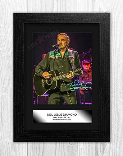 Engravia Digital Neil Diamond Poster Signed Autograph Reproduction Photo A4 Print (Black Frame)