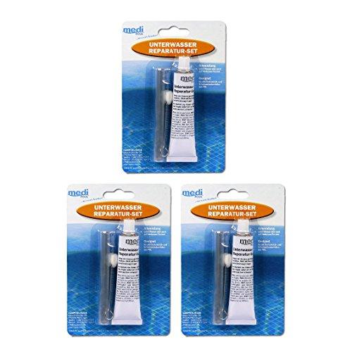 Medipool 3 x Unterwasser Reparatur-Set - 3 x Spezialkleber 30ml und Folienstück