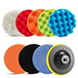 """ARESUN 11 Pcs 5 Inch Car Polishing Pad,5"""" Buffer Pads and Buffing Pads with 8 MM Drill Adapter for Household Electric Drill, Finishing Pad for Boat Polisher, Waxing Sealing Glaze"""