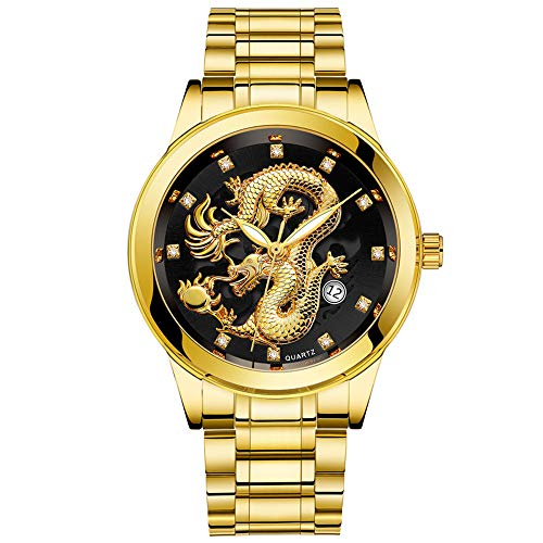 Celucke Quarz Uhr Herren Armbanduhr mit Edelstahl Metallarmband im Drachen Style, Männer Uhren Business Herrenuhr Luxusuhren Analoguhr Wasserdicht Sportuhr Klassisch Quarzuhr