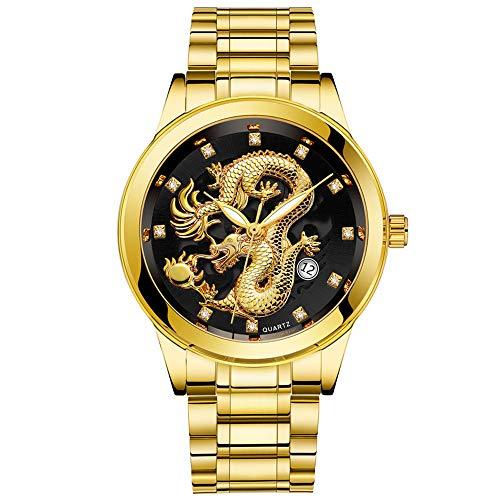 armbanduhren männer Herrenuhr mit Datum Funktion herren Wasserdichte Herren Gold Drachen Skulptur Quarz Uhr Männer Stahl Armbanduhr Armbanduhr Uhren Armbanduhren Herrenarmbanduh Schwarz 3678