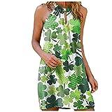 YANFANG Vestido Verde Estampado,Vestido Sin Tirantes Estampado con Cuello Colgante De Metal Casual Verano para Mujer Moda,Vestidos Mujer,Vestido Playa,4-Verde,5XL