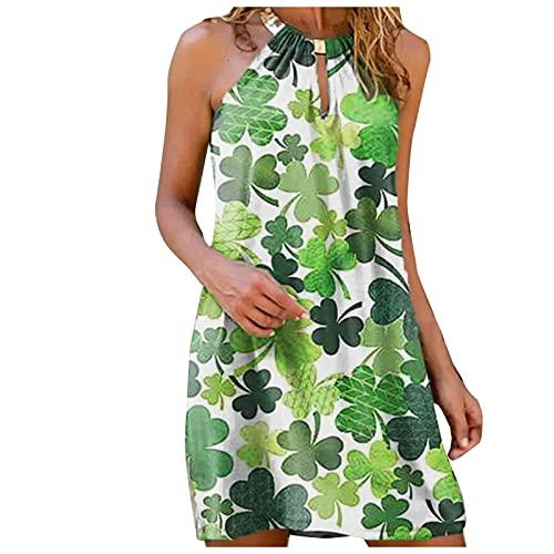 L9WEI Vestido Informal para Mujer Vestidos de Tirantes con Cuello Halter Vestido de Playa con Estampado Bohemio, Vestido sin Tirantes, Minivestidos Elegantes de Verano para Mujer