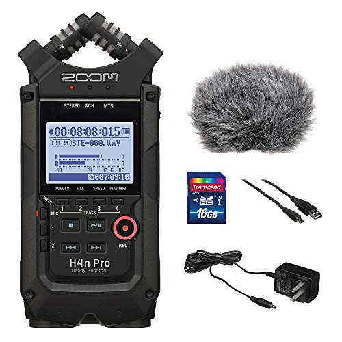 Zoom H4n Pro All Black 4-Track Portable Recorder (2020 Model) with Zoom AD-14 AC Adapter, Windbuster, 16GB Memory Card & USB Cable Bundle