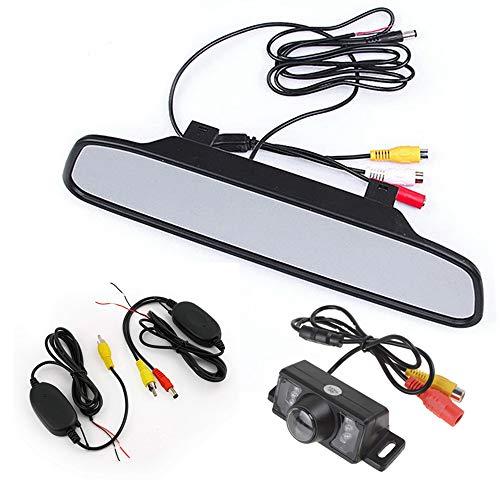 Boomboost - 4 LED Vision Nocturne caméra de stationnement Inverse avec Moniteur de rétroviseur de 4,3 Pouces pour Voiture inversant avec émetteur et récepteur vidéo