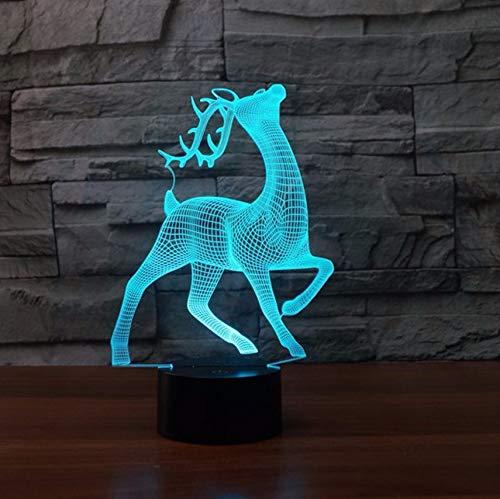 Cervo Sika 3d Night Light 7 colori che cambiano Touch ust tavolo da tavolo Lampara Lampe Natale Cervi come regalo per i bambini regalo