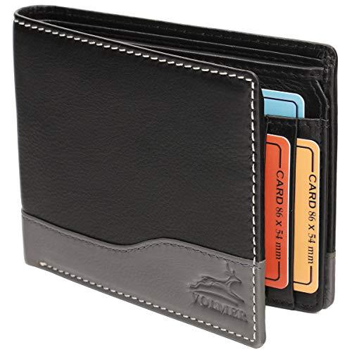 Fa.Volmer ® Ledergeldbörse Echtleder Querformat mit RFID-Schutz Slim Design Manhattan Serie #MW114 (schwarz/grau)