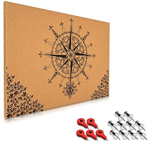 Navaris Kork Pinwand Memoboard Tafel - 70x50cm Pin Board Korkwand mit Stecknadeln Fahnen Montageset...